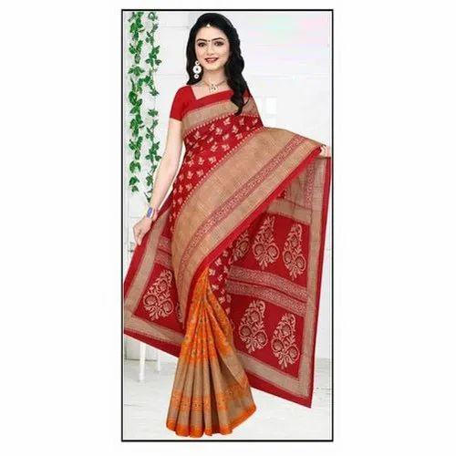10d18c8b83 Wedding Wear Cotton Printed Saree, 5.5 M (separate Blouse Piece), Rs ...