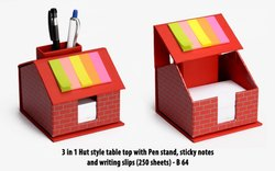 3 In 1 Hut Style Table Top With Pen Stand, Sticky Notes And Writing Slips