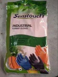 Industrial Flocklined Rubber Gloves - Natural Latex - Senstouch - Orange