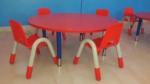 Round Table Orange.Kindergarten Round Table And Chair
