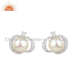 CZ Pearl Gemstone White Rhodium Plated Silver Stud Earrings