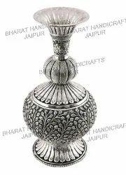 Metal silver plated flower vase