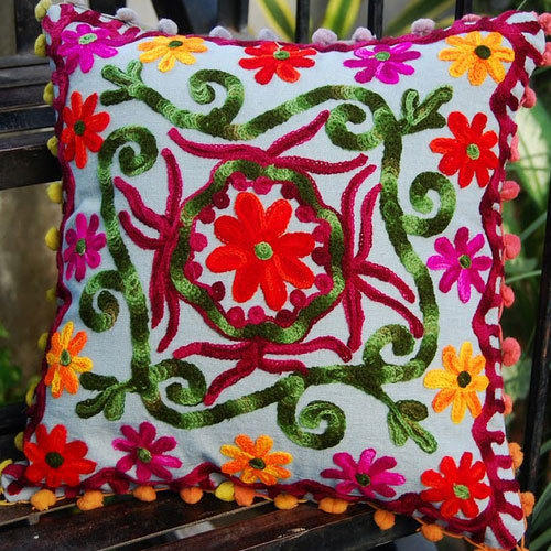 Fancy Embroidery Cushion Cover, Size: 16*16