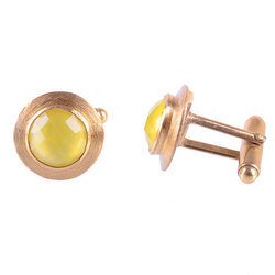 Yellow Chalcedony Round Beautiful Mens Royal Cufflinks Made By Indianna Jewellers