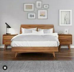 Trigo Brownish Yellow Pure Teak Wood British Classic Bed, For Home