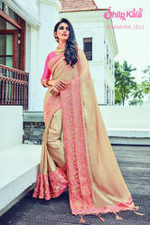 Georgette Shilp Kala Embroidery Work Saree, 6.3 m (with blouse piece), Packaging Type: Box