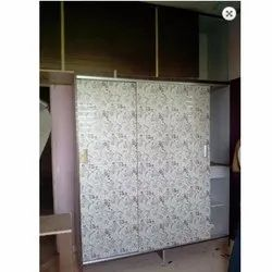 Shree Interior Wooden Printed White Wardrobe, Size/Dimension: 8-9 Feet Height, Warranty: 1 Year