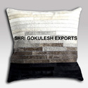 Black Leather Hair On Cushion Covers For Home & Hotel