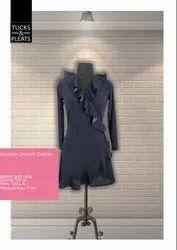 Crepe Knittee Western Wear Black Dot Printed Womens Short Dress, 16-40, 3/4 Sleeve