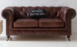 Vintage Leather Sofa, Chesterfield Two Seater Leather Sofa
