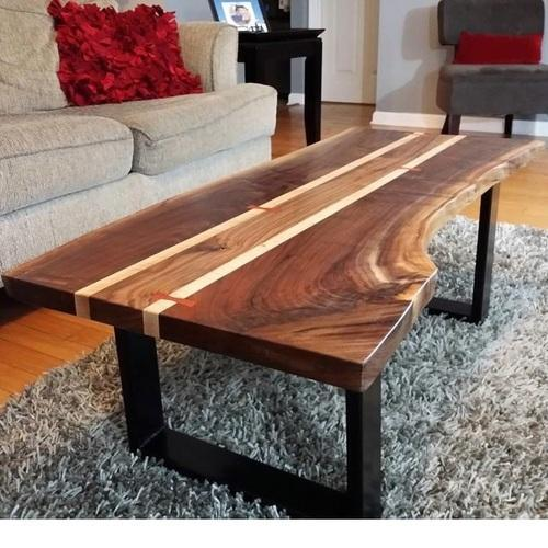 Vintage Industrial Live Edge Walnut Slab Coffee Table: Live Edge Wooden Coffee Table, Rs 5500 /piece, Rustic