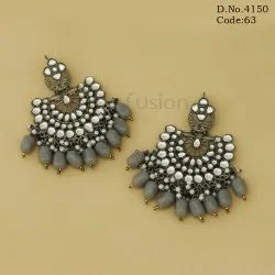 Ethnic Antique Polish Kundan Chandbali Earrings
