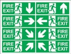 Fire Exit Door Signs With Fire Exit Running Man And Arrow Reflective Stickers