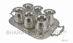 Pure Silver Glass Set Tray