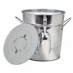 Galvanized Metal Ice Bucket With Lid and Scoop