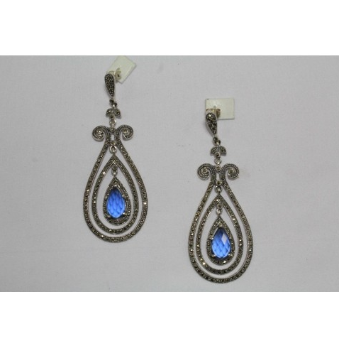 Silver Chandelier Earrings Marcasite And Blue Stone, Chandi ...