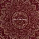 Maroon Gold Floral Ombre Mandala Duvet Quilt Cover
