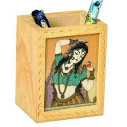 Gemstone Wooden Pen Holder