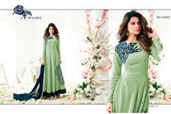 Semi-Stitched Printed Heavy Georgette With Fancy Work Salwar Suit