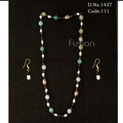 Fancy Multi Colour Pearl Beaded Necklace Set