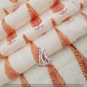 Brown Leaf Block Print 100% Cotton Fabric Natural Color