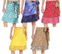 Printed Sari Reversible Beach Wrap Skirts