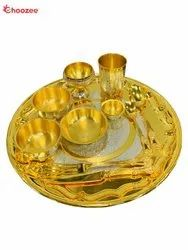 Gold Plated Brass Bhojan Thali Set (11 Pcs)