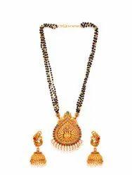 Matte Finish Traditional Temple Mangalsutra Set - J 345