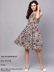 Blue & Maroon Floral & Check Printed Dress