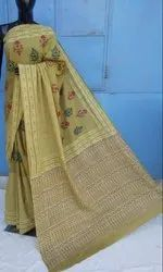 Ajrakh Hand Block Printed Cotton Saree