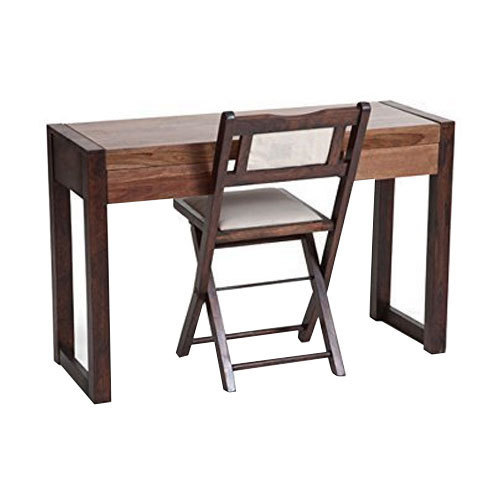 Brown Rectangular Wooden Study Table With Chair