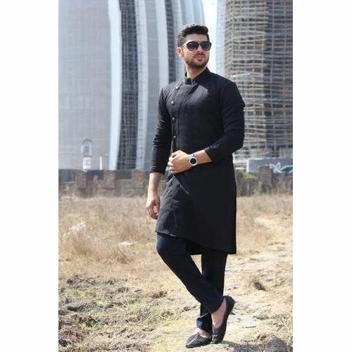 698112098 BLACK Indowestern Kurta Wedding Mens Wear, Rs 4000 /piece | ID ...