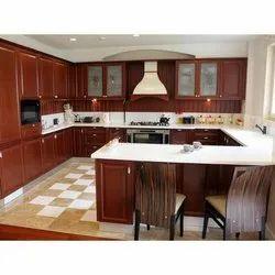 Wooden G Shape Modular Kitchen