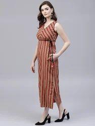 Short, Regular Sleeves MAROON PRINTED KANTHA Printed Maxi Dress
