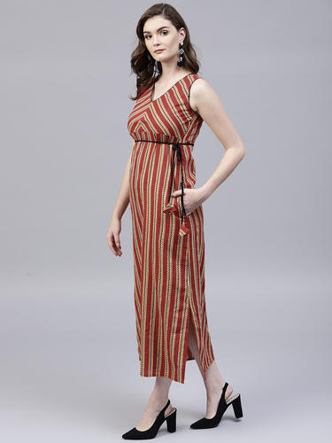 ad69ee3f4bf0 Cotton Round Neck Sleeveless Maroon Printed Kantha Maxi Dress, Rs ...