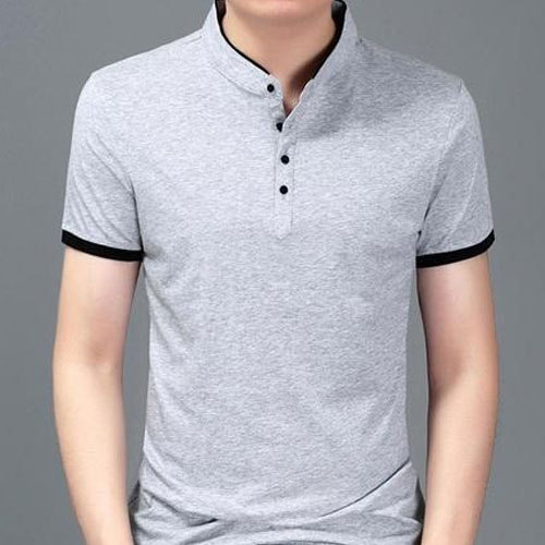 2019 wholesale price lowest discount new cheap Mens Plain Stand Collar Neck T Shirt