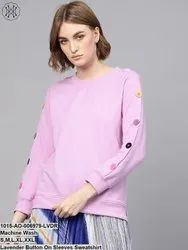 Lavender Button On Sleeves Sweatshirt