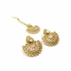 Designer Gold Earring Tikka Set