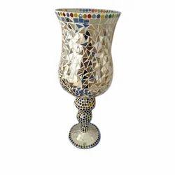 Multicolor Glass Decorative Flower Pot, Shape: Hurricane
