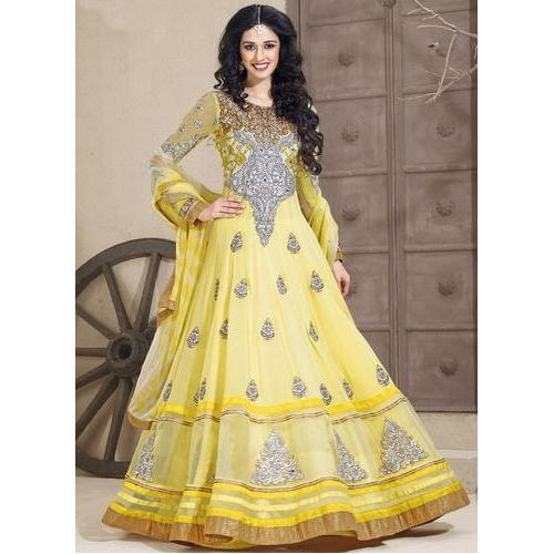 81742d5a586 Georgette Ladies Yellow Dazzling Floor Length Anarkali Suit