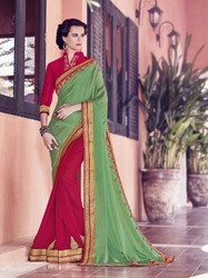 Satin Chiffon And Georgette Indian Saree