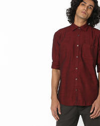Cotton Men Maroon Slim Fit Solid Casual Shirt