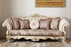 Sunny Overseas Leather Modern Three Seater Sofa, For Home