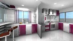 Stainless Steel Modular Straight Kitchen