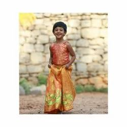 Pink And Yellow Silk Kids Wear, Age: 8-12, Small