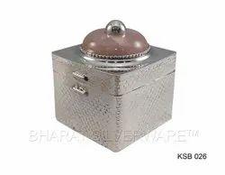 Pure Silver Fancy Cookie Box (Pink Quartz)