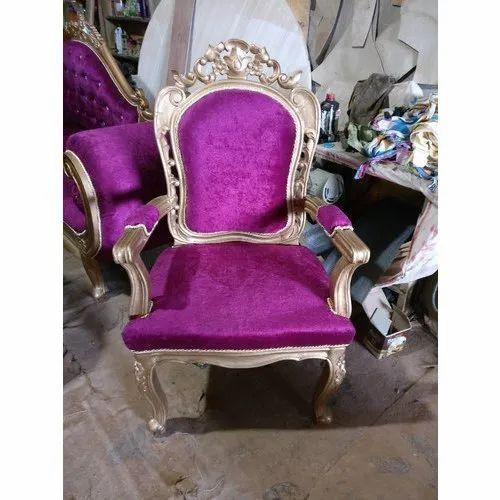 Purple Wooden Designer Banquet Chair