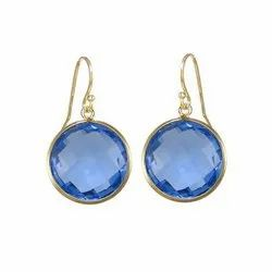 Blue Quartz Faceted Round Bezel Set Earrings