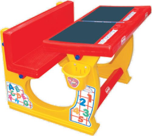 Red, Yellow MEBEL Dual Study Desk, Size: 30x31x23 Inch, For Pre School Usages