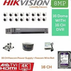 Feecom HIKVISION 4K Supper HD 8MP Cameras Combo KIT 16CH HD DVR  16 Dome Cameras  2TB Hard DISC Wir